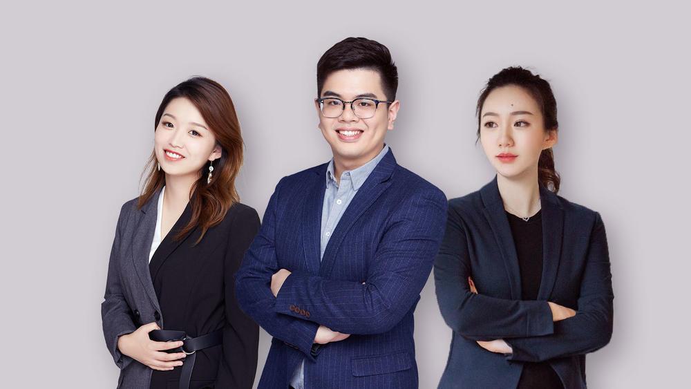 从左到右依次为COO陈丽、CEO朱起、市场销售负责人满天星。